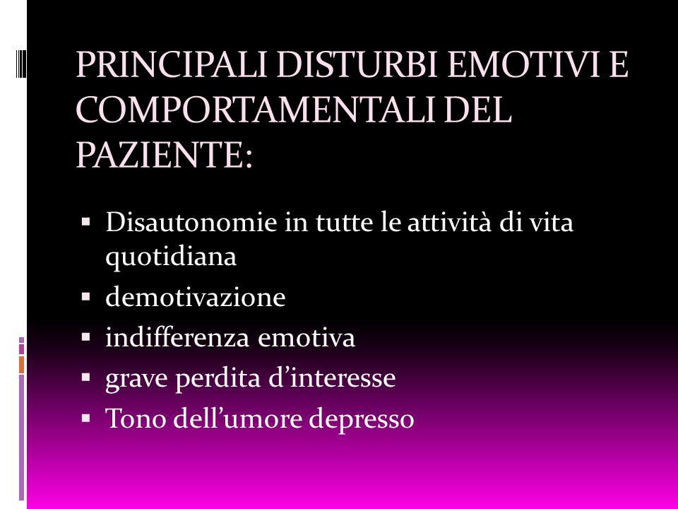 PRINCIPALI DISTURBI EMOTIVI E COMPORTAMENTALI DEL PAZIENTE: