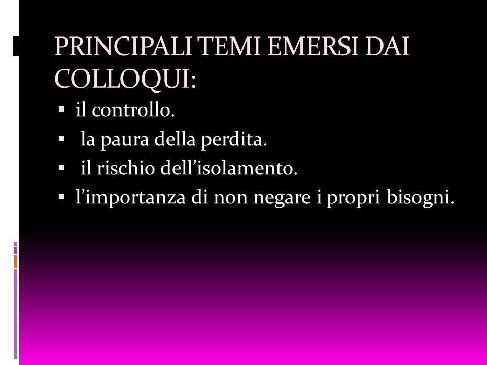 PRINCIPALI TEMI EMERSI DAI COLLOQUI: