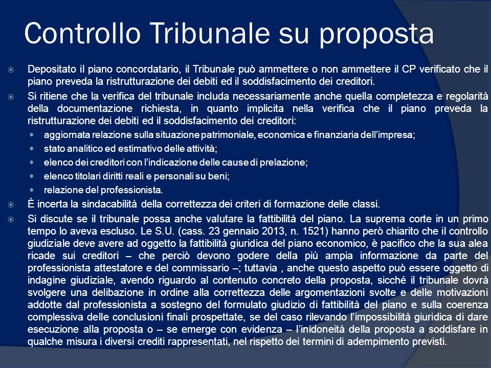 Controllo Tribunale su proposta