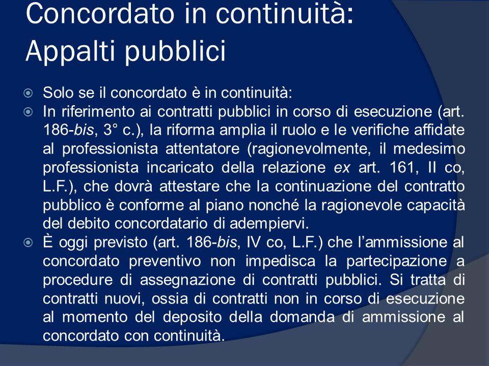 Concordato in continuità: Appalti pubblici
