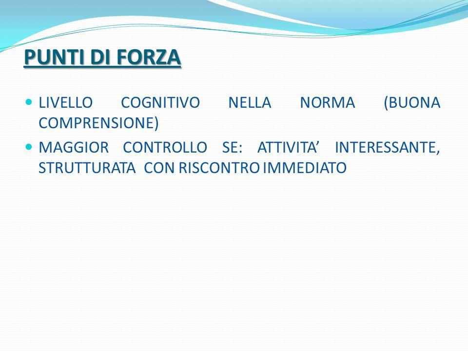 PUNTI DI FORZA LIVELLO COGNITIVO NELLA NORMA (BUONA COMPRENSIONE)