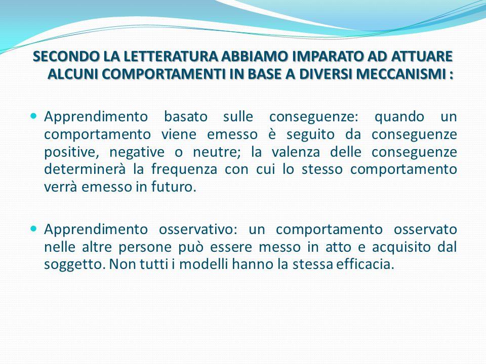 SECONDO LA LETTERATURA ABBIAMO IMPARATO AD ATTUARE ALCUNI COMPORTAMENTI IN BASE A DIVERSI MECCANISMI :