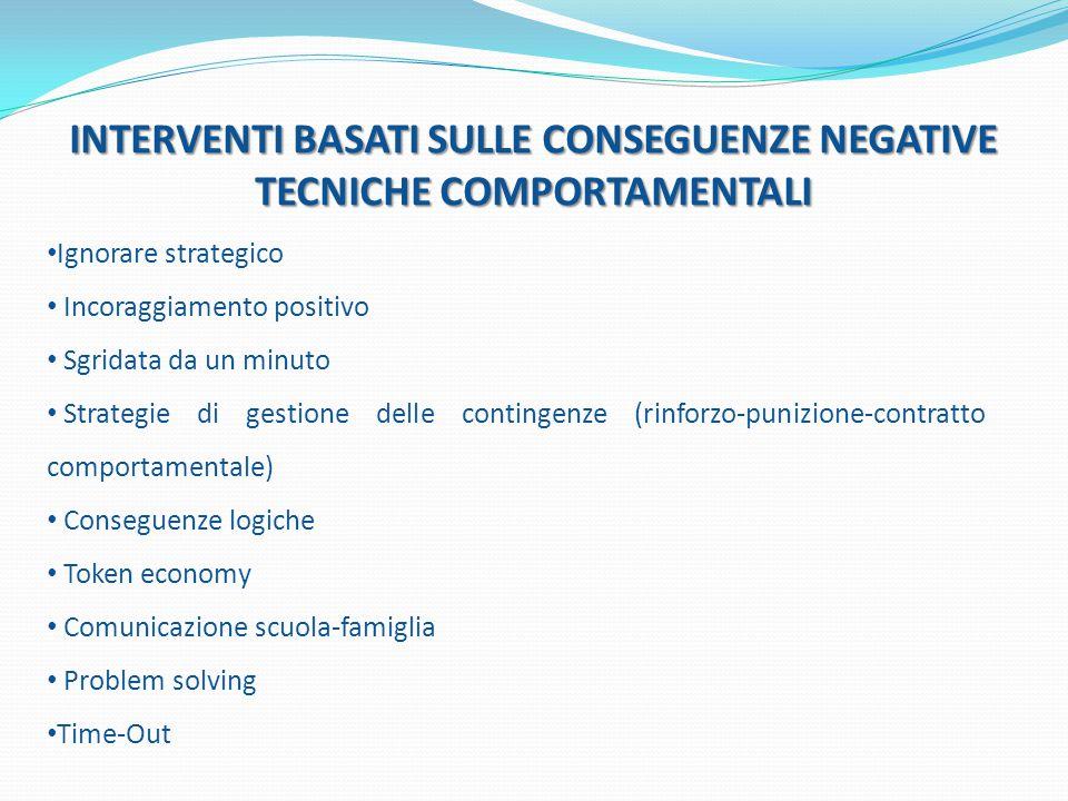 INTERVENTI BASATI SULLE CONSEGUENZE NEGATIVE TECNICHE COMPORTAMENTALI