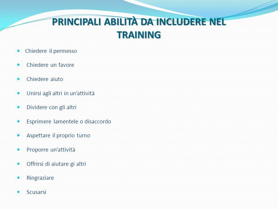 PRINCIPALI ABILITÀ DA INCLUDERE NEL TRAINING