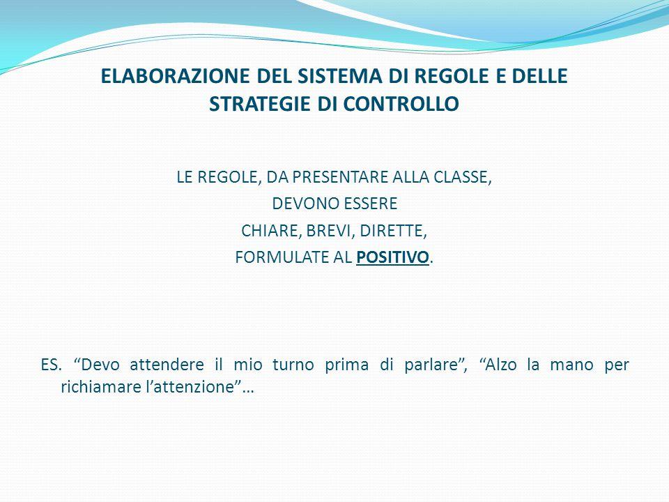 ELABORAZIONE DEL SISTEMA DI REGOLE E DELLE STRATEGIE DI CONTROLLO