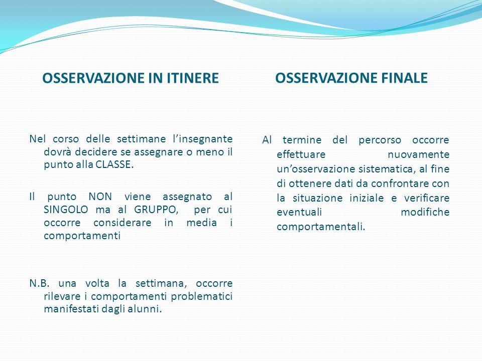 OSSERVAZIONE IN ITINERE