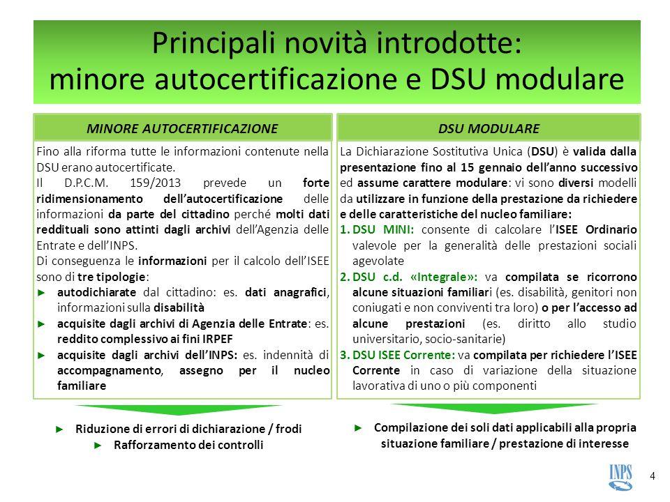 Principali novità introdotte: minore autocertificazione e DSU modulare