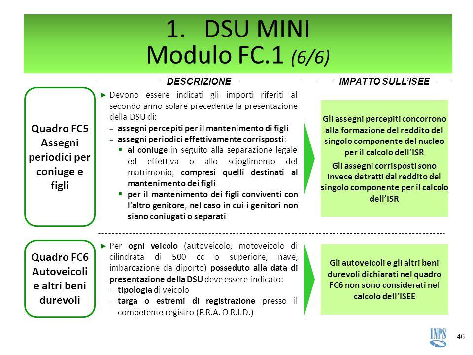 DSU MINI Modulo FC.1 (6/6) DESCRIZIONE. IMPATTO SULL'ISEE. Quadro FC5 Assegni periodici per coniuge e figli.