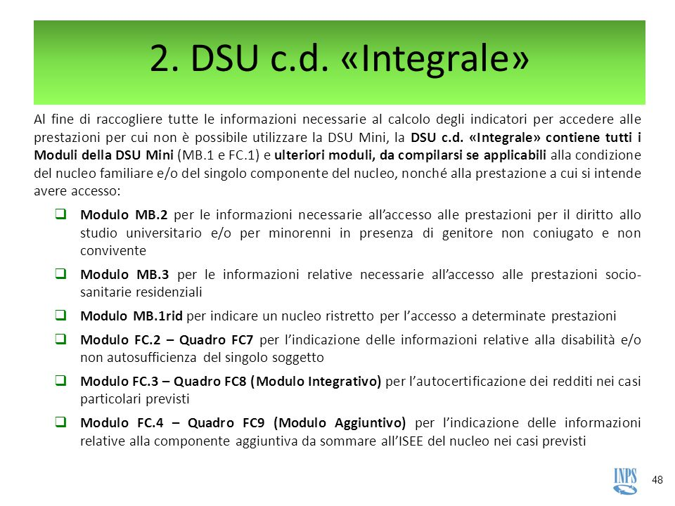 2. DSU c.d. «Integrale»