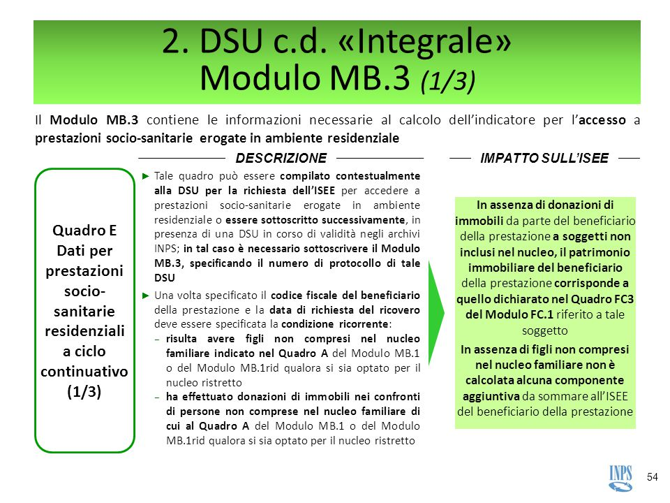 2. DSU c.d. «Integrale» Modulo MB.3 (1/3)