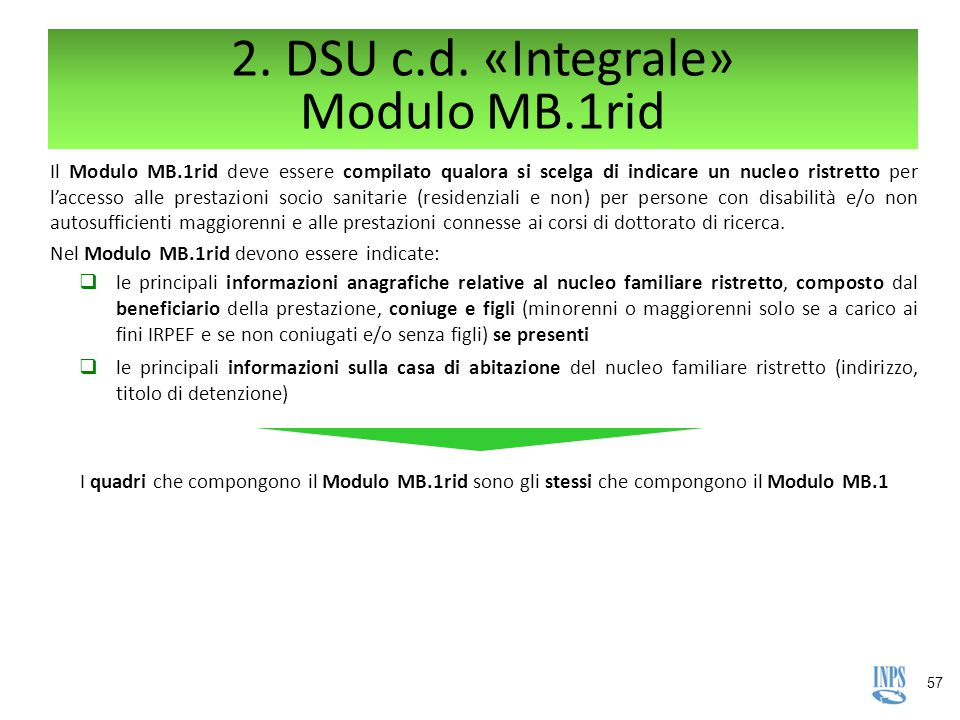 2. DSU c.d. «Integrale» Modulo MB.1rid