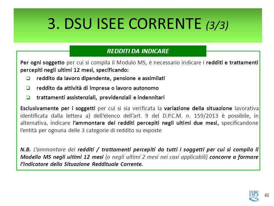 3. DSU ISEE CORRENTE (3/3) REDDITI DA INDICARE