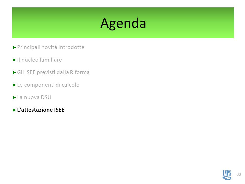 Agenda Le principali novità «executive summary»