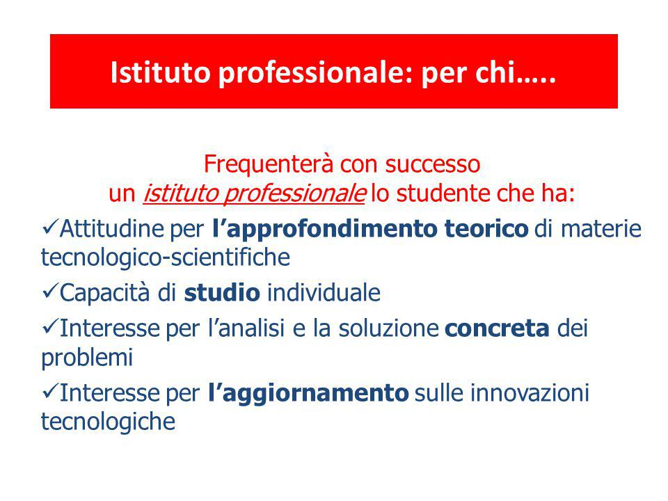 Istituto professionale: per chi…..