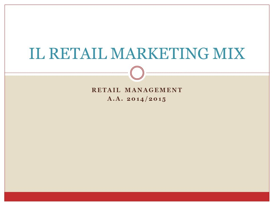 IL RETAIL MARKETING MIX