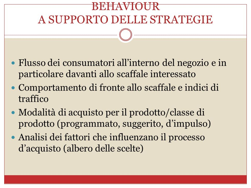 LE AREE DI ANALISI DI SHOPPER BEHAVIOUR A SUPPORTO DELLE STRATEGIE