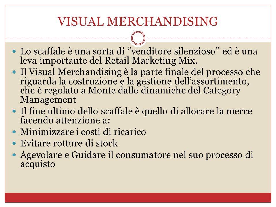 VISUAL MERCHANDISING Lo scaffale è una sorta di ''venditore silenzioso'' ed è una leva importante del Retail Marketing Mix.