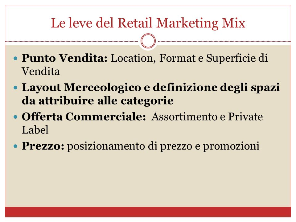Le leve del Retail Marketing Mix