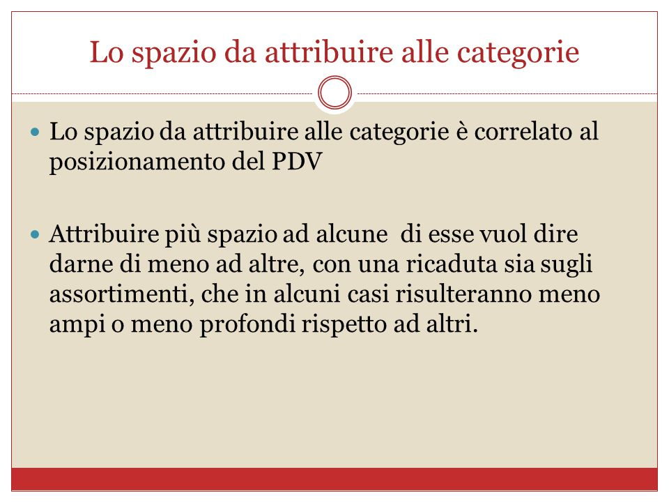 Lo spazio da attribuire alle categorie