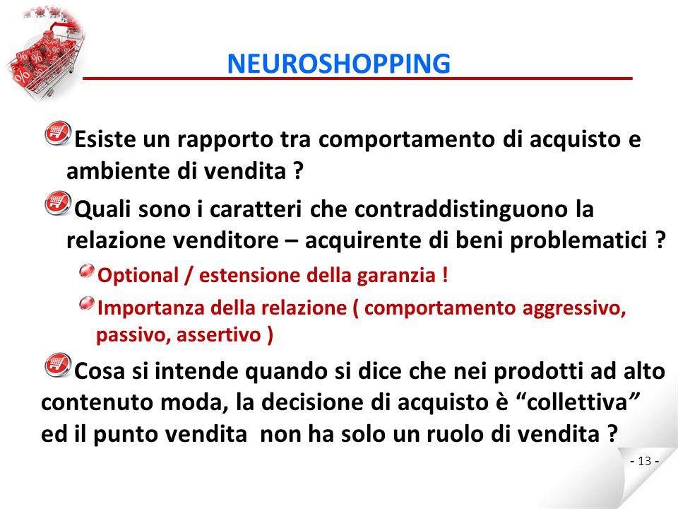 NEUROSHOPPING Esiste un rapporto tra comportamento di acquisto e ambiente di vendita