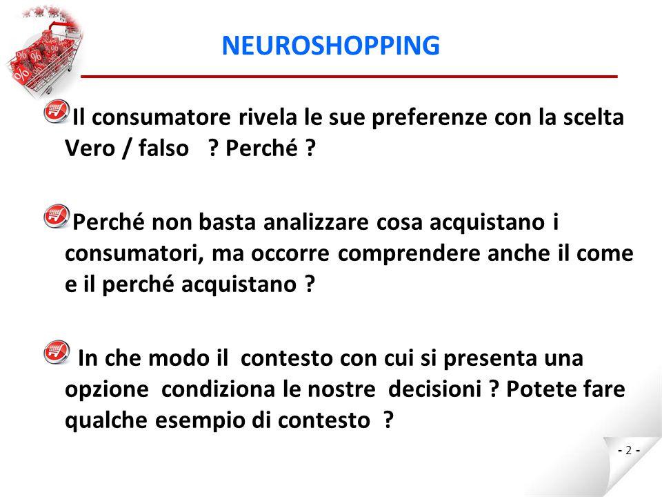 NEUROSHOPPING Il consumatore rivela le sue preferenze con la scelta Vero / falso Perché