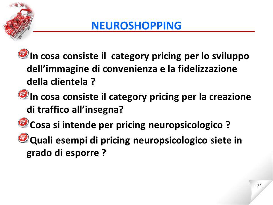 NEUROSHOPPING In cosa consiste il category pricing per lo sviluppo dell'immagine di convenienza e la fidelizzazione della clientela
