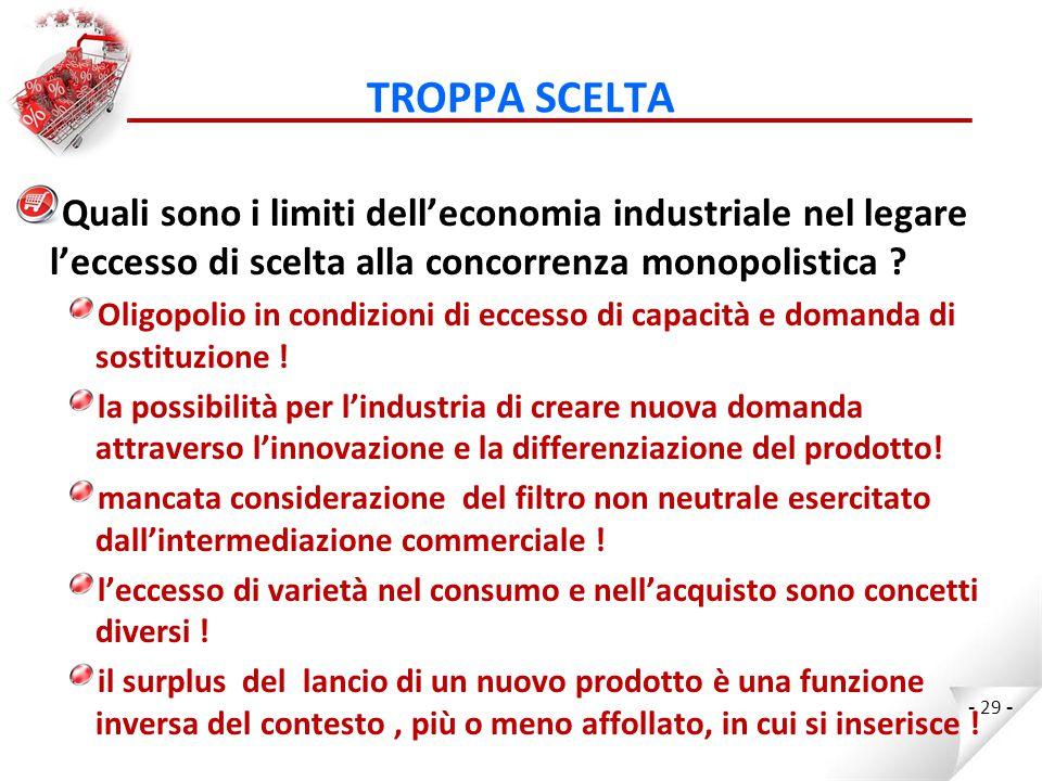 TROPPA SCELTA Quali sono i limiti dell'economia industriale nel legare l'eccesso di scelta alla concorrenza monopolistica