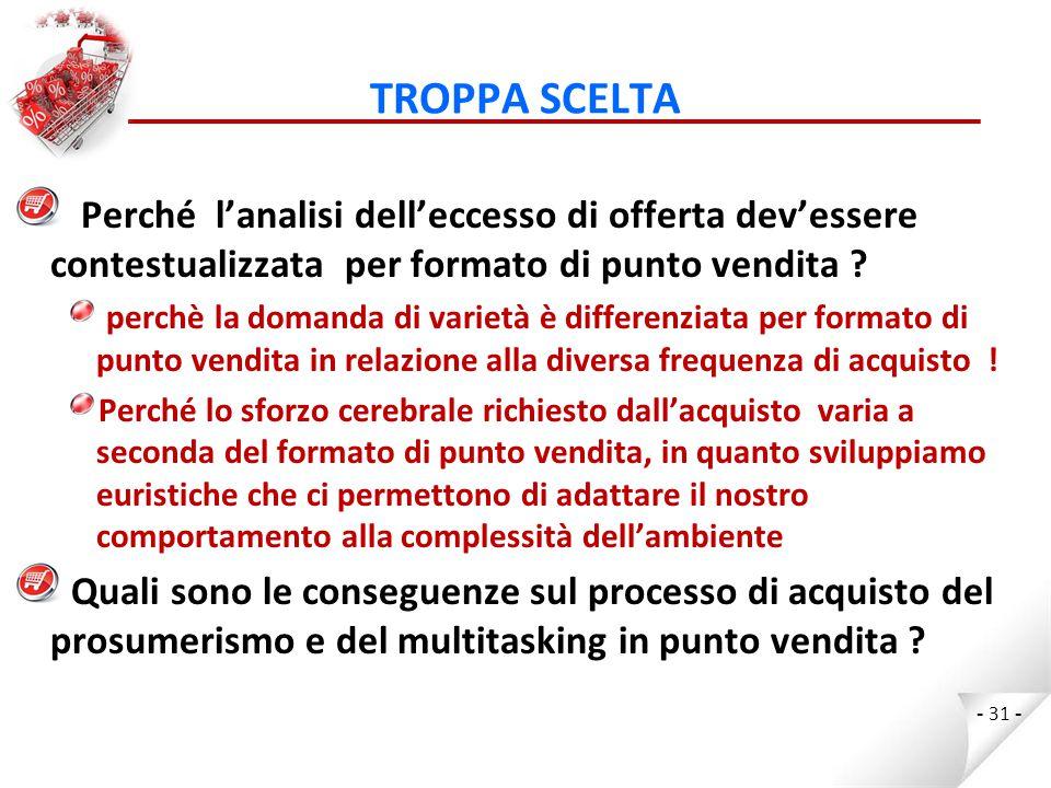 TROPPA SCELTA Perché l'analisi dell'eccesso di offerta dev'essere contestualizzata per formato di punto vendita