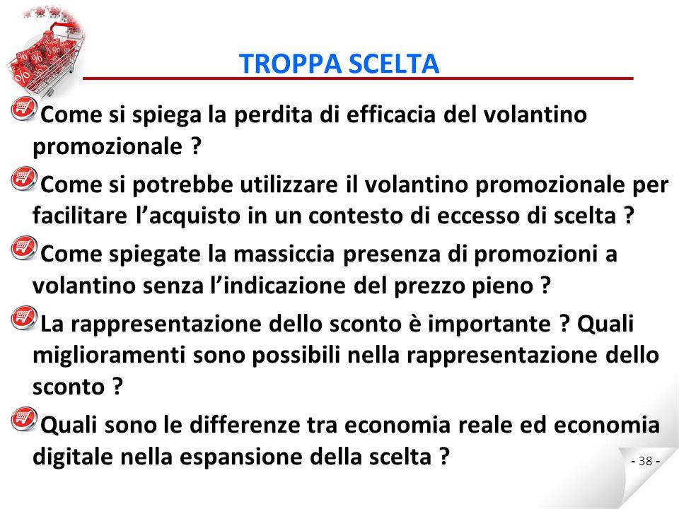 TROPPA SCELTA Come si spiega la perdita di efficacia del volantino promozionale
