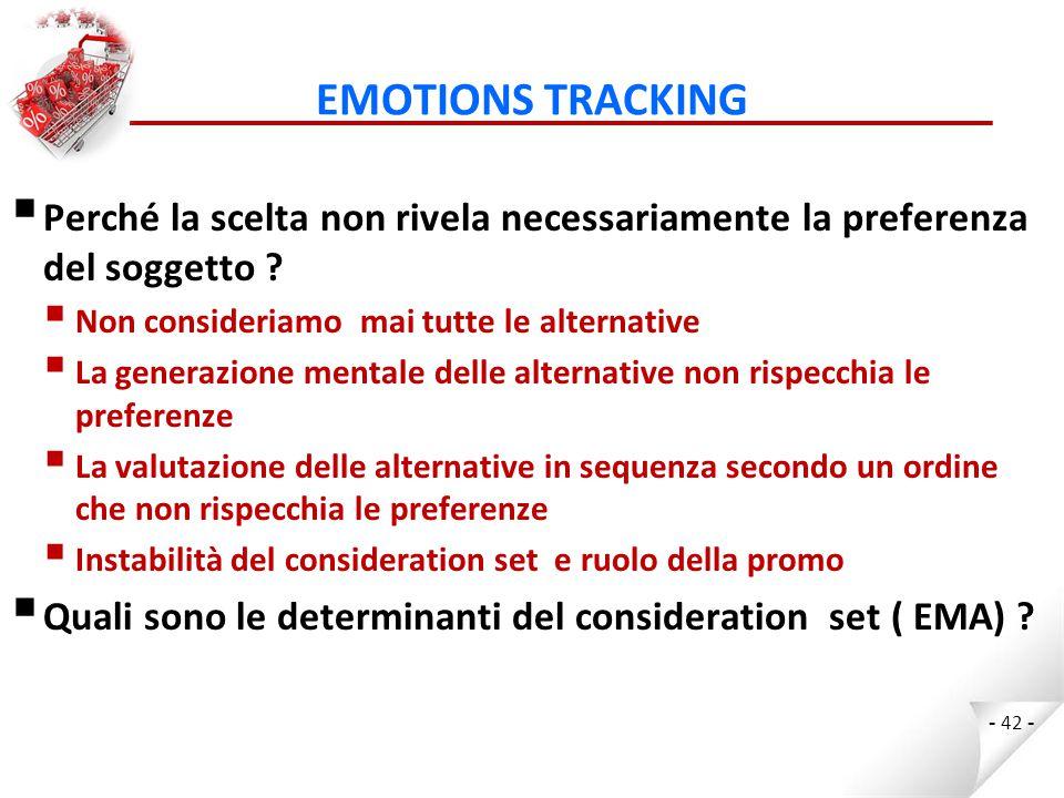 EMOTIONS TRACKING Perché la scelta non rivela necessariamente la preferenza del soggetto Non consideriamo mai tutte le alternative.