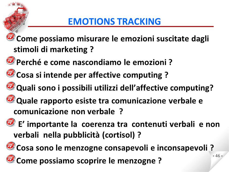 EMOTIONS TRACKING Come possiamo misurare le emozioni suscitate dagli stimoli di marketing Perché e come nascondiamo le emozioni