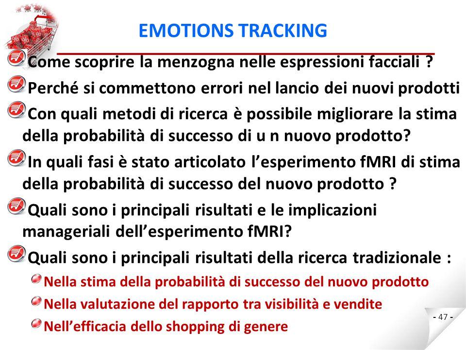 EMOTIONS TRACKING Come scoprire la menzogna nelle espressioni facciali Perché si commettono errori nel lancio dei nuovi prodotti.