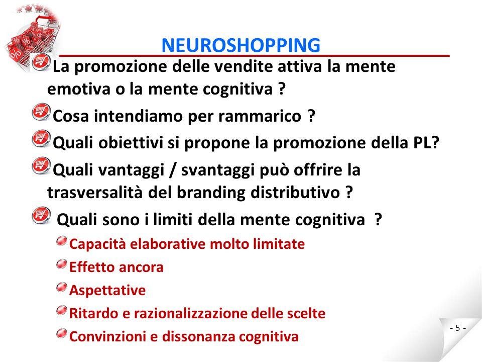NEUROSHOPPING La promozione delle vendite attiva la mente emotiva o la mente cognitiva Cosa intendiamo per rammarico