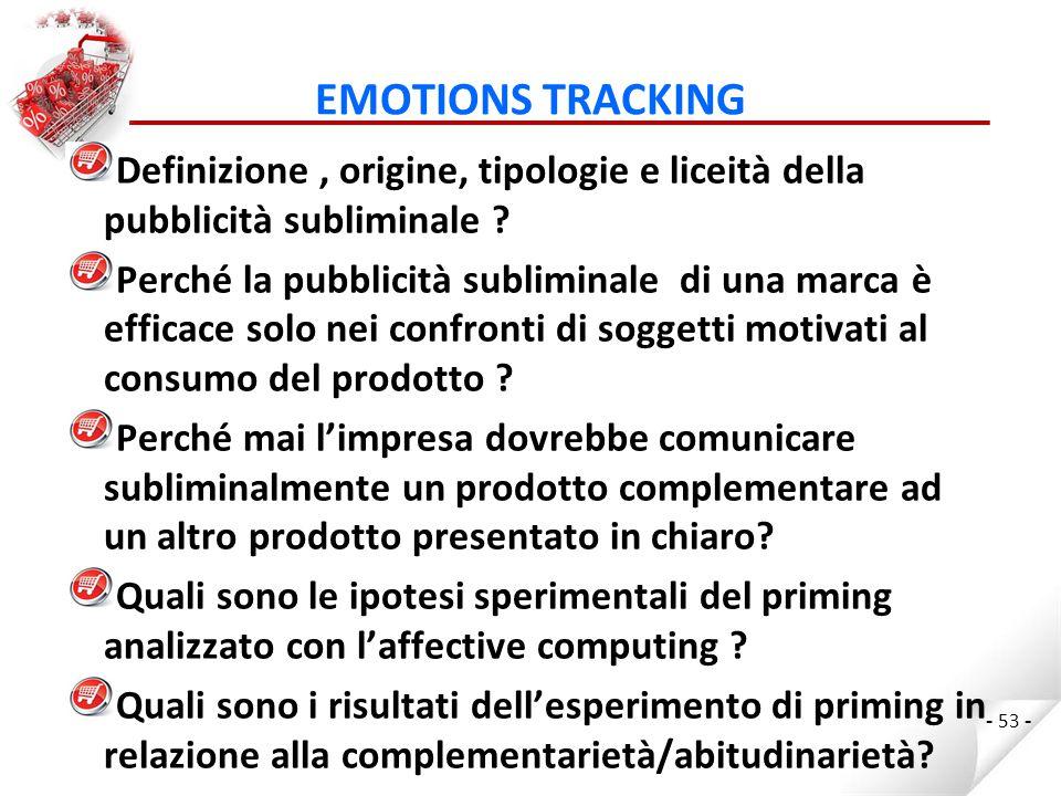 EMOTIONS TRACKING Definizione , origine, tipologie e liceità della pubblicità subliminale
