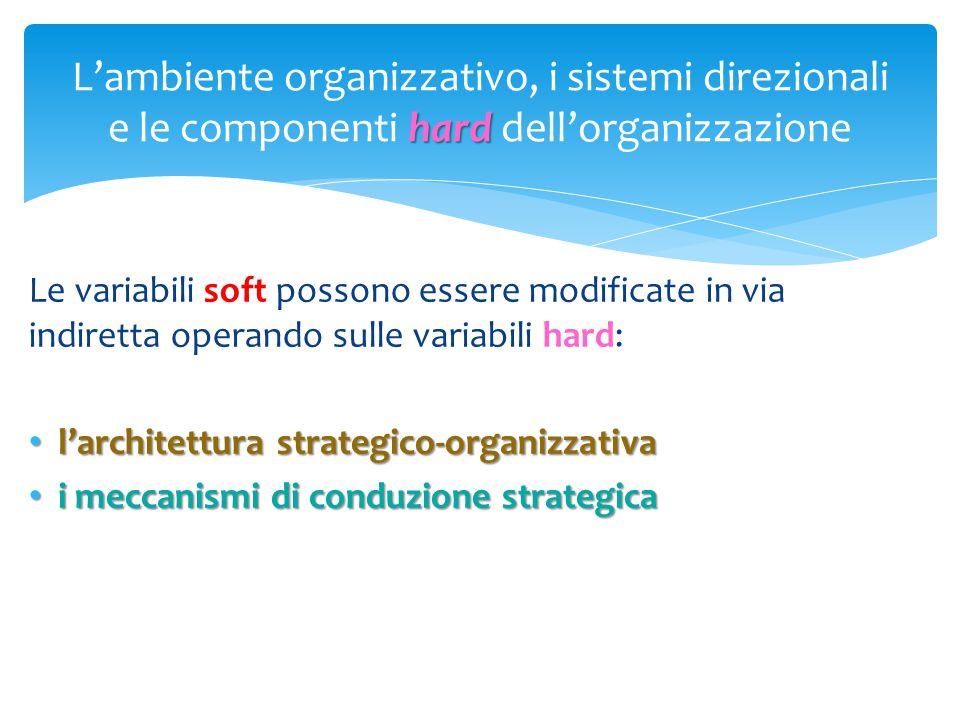 L'ambiente organizzativo, i sistemi direzionali e le componenti hard dell'organizzazione