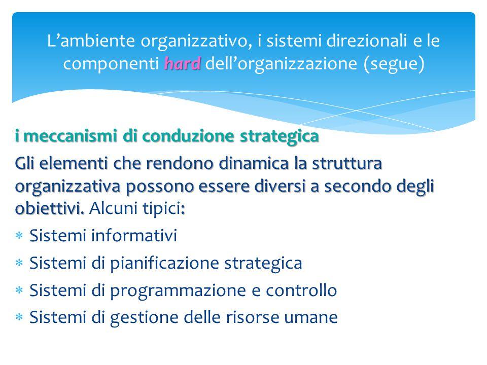 L'ambiente organizzativo, i sistemi direzionali e le componenti hard dell'organizzazione (segue)