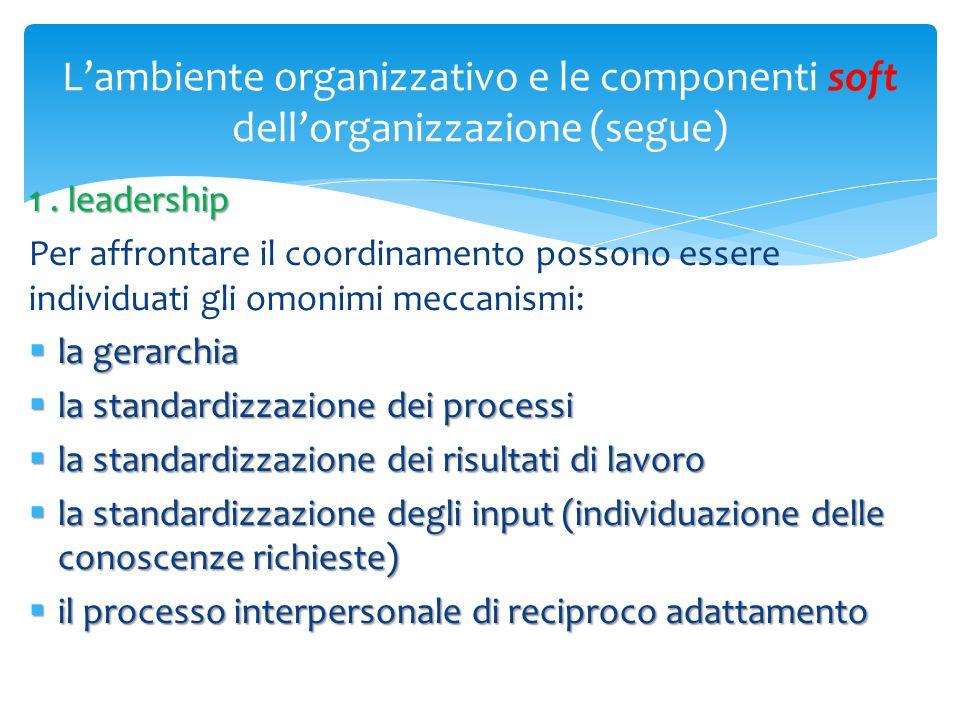 L'ambiente organizzativo e le componenti soft dell'organizzazione (segue)