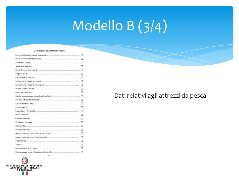 Modello B (3/4) Dati relativi agli attrezzi da pesca