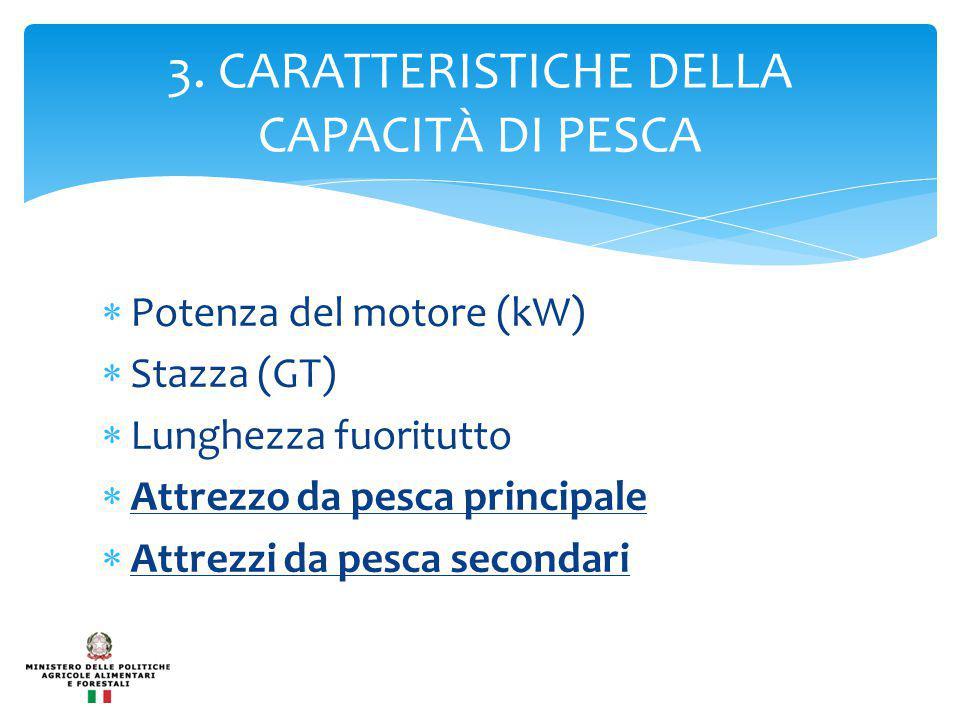 3. CARATTERISTICHE DELLA CAPACITÀ DI PESCA