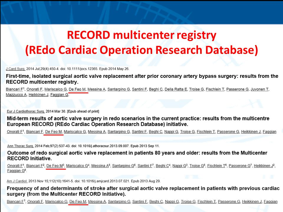 RECORD multicenter registry (REdo Cardiac Operation Research Database)