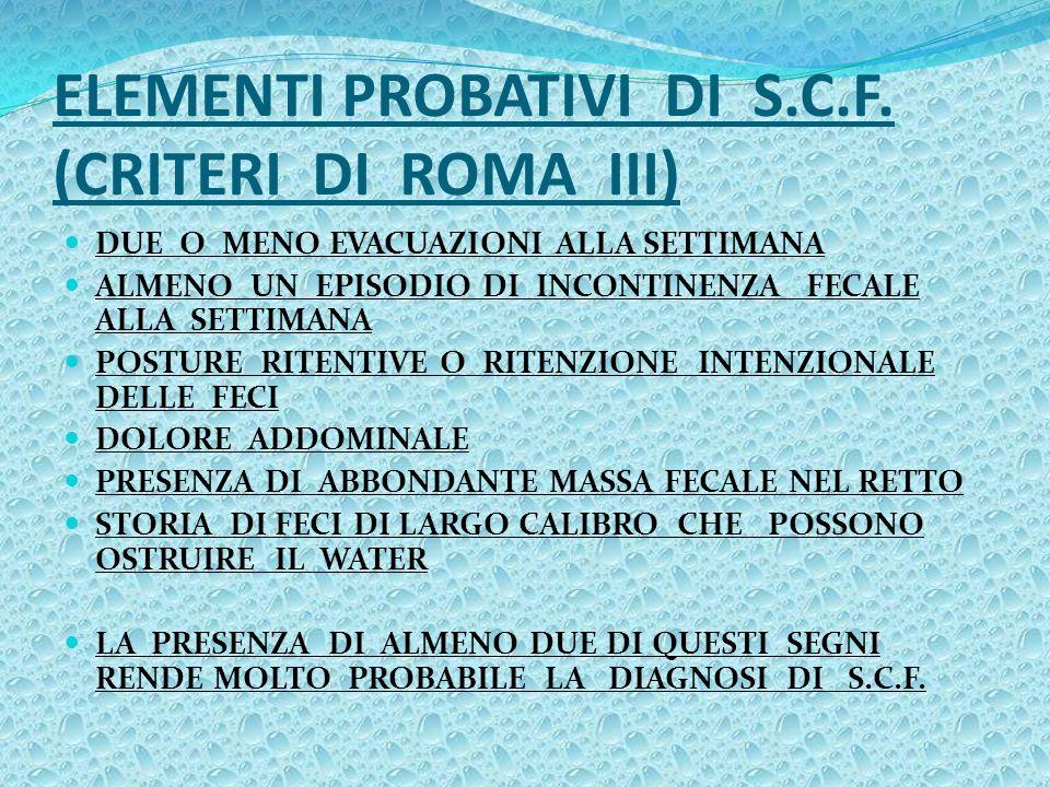 ELEMENTI PROBATIVI DI S.C.F. (CRITERI DI ROMA III)