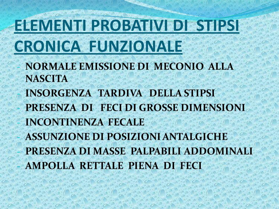 ELEMENTI PROBATIVI DI STIPSI CRONICA FUNZIONALE