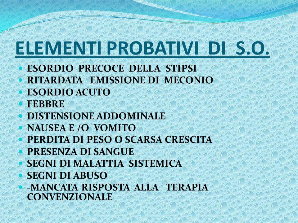 ELEMENTI PROBATIVI DI S.O.