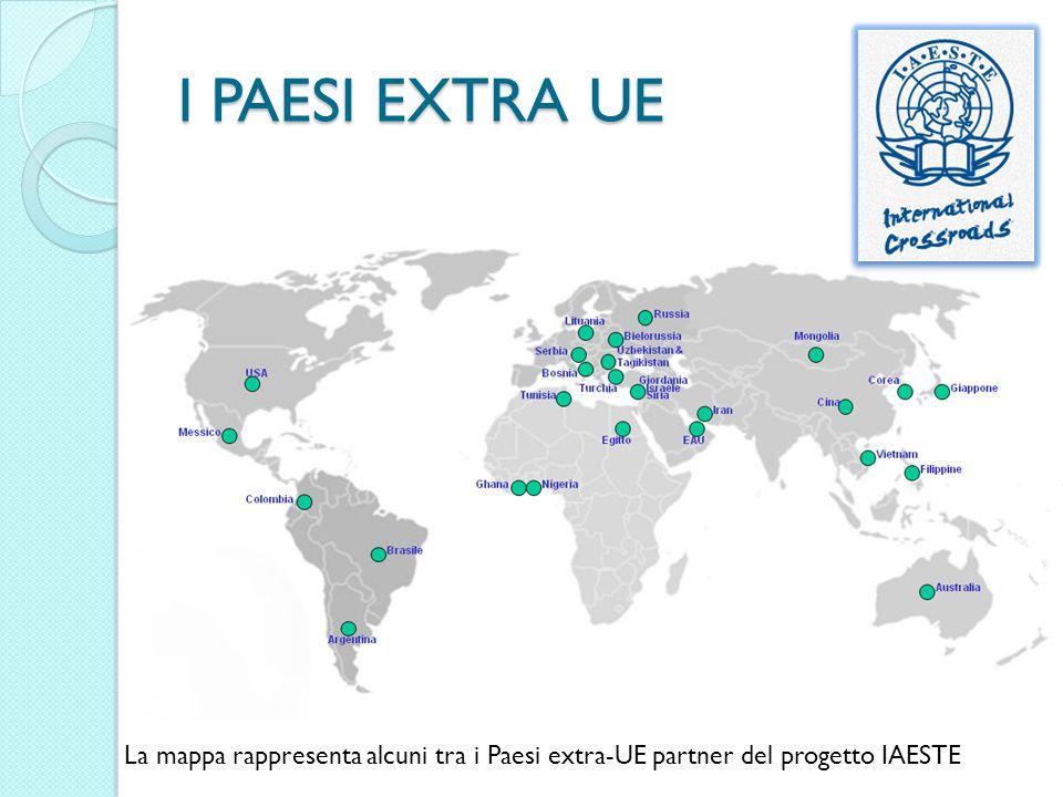 I PAESI EXTRA UE La mappa rappresenta alcuni tra i Paesi extra-UE partner del progetto IAESTE