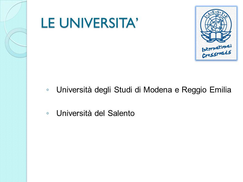 LE UNIVERSITA' Università degli Studi di Modena e Reggio Emilia