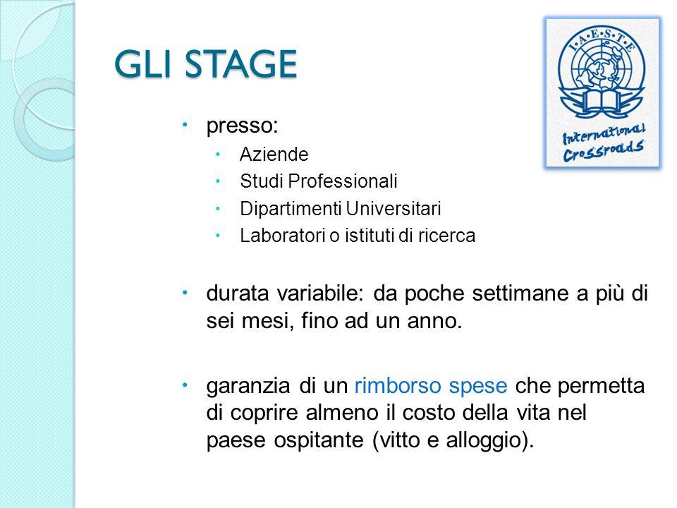 GLI STAGE presso: Aziende. Studi Professionali. Dipartimenti Universitari. Laboratori o istituti di ricerca.