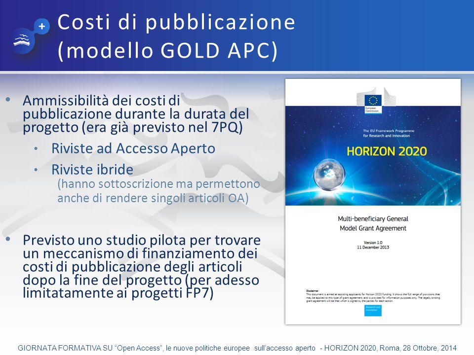 Costi di pubblicazione (modello GOLD APC)