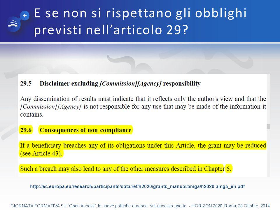 E se non si rispettano gli obblighi previsti nell'articolo 29