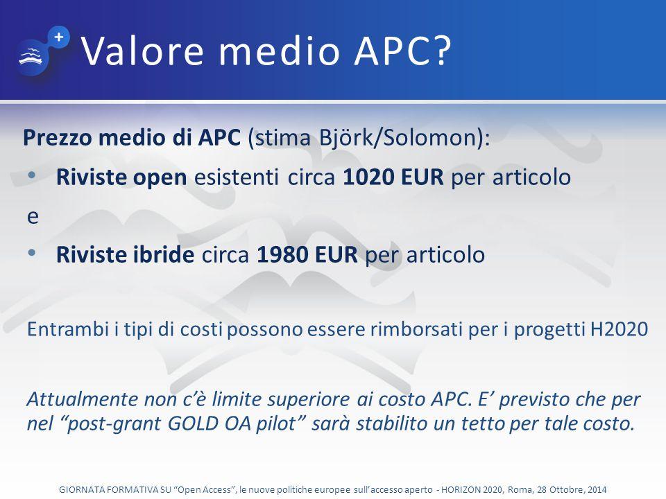 Valore medio APC Prezzo medio di APC (stima Björk/Solomon):