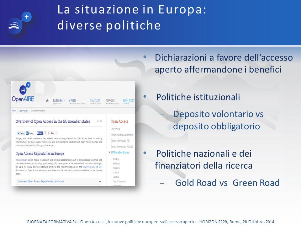 La situazione in Europa: diverse politiche
